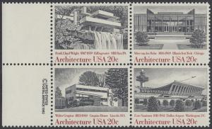 USA Michel 1600-1603 / Scott 2019-2022 postfrisch BLOCK RÄNDER links m/ copyright symbol - Amerikanische Architektur