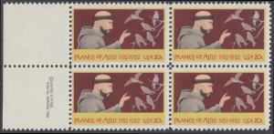 USA Michel 1604 / Scott 2023 postfrisch BLOCK RÄNDER links m/ copyright symbol - 800. Geburtstag des hl. Franz von Assisi