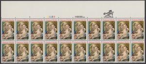 USA Michel 1606 / Scott 2026 postfrisch horiz.PLATEBLOCK(20) RÄNDER oben m/ Platten-# 22222 - Weihnachten: Madonna und Kind