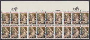 USA Michel 1606 / Scott 2026 postfrisch horiz.PLATEBLOCK(20) RÄNDER oben m/ Platten-# 13131 - Weihnachten: Madonna und Kind
