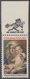 USA Michel 1606 / Scott 2026 postfrisch EINZELMARKE RAND oben m/ ZIP-Emblem - Weihnachten: Madonna und Kind