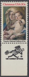 USA Michel 1606 / Scott 2026 postfrisch EINZELMARKE RAND unten m/ ZIP-Emblem - Weihnachten: Madonna und Kind