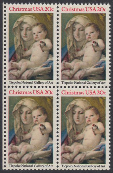 USA Michel 1606 / Scott 2026 postfrisch BLOCK RÄNDER links - Weihnachten: Madonna und Kind 0