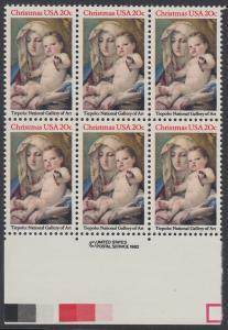 USA Michel 1606 / Scott 2026 postfrisch horiz.BLOCK(6) RÄNDER unten m/ copyright symbol - Weihnachten: Madonna und Kind