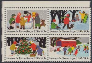 USA Michel 1607-1610 / Scott 2027-2030 postfrisch BLOCK ECKRAND oben links - Weihnachten