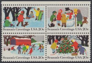 USA Michel 1607-1610 / Scott 2027-2030 postfrisch BLOCK RÄNDER oben - Weihnachten