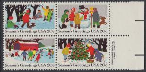 USA Michel 1607-1610 / Scott 2027-2030 postfrisch BLOCK RÄNDER rechts m/ copyright symbol - Weihnachten