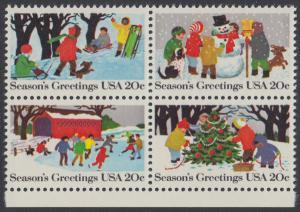 USA Michel 1607-1610 / Scott 2027-2030 postfrisch BLOCK RÄNDER unten - Weihnachten