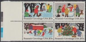 USA Michel 1607-1610 / Scott 2027-2030 postfrisch BLOCK RÄNDER links (a1) - Weihnachten