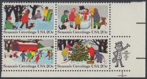 USA Michel 1607-1610 / Scott 2027-2030 postfrisch ZIP-BLOCK (lr) - Weihnachten