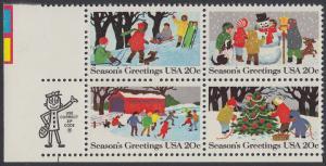 USA Michel 1607-1610 / Scott 2027-2030 postfrisch ZIP-BLOCK (ll) - Weihnachten