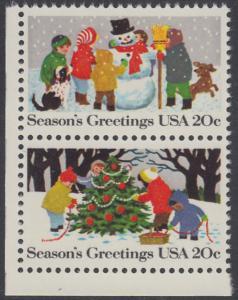 USA Michel 1608+1610 / Scott 2028+2030 postfrisch vert.PAAR ECKRAND unten links - Weihnachten
