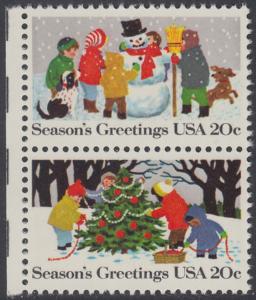 USA Michel 1608+1610 / Scott 2028+2030 postfrisch vert.PAAR RÄNDER links - Weihnachten