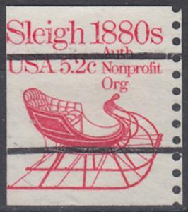 USA Michel 1614 / Scott 1900 postfrisch EINZELMARKE RAND rechts (precancelled / a2) - Fahrzeuge: Schlitten