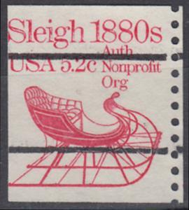 USA Michel 1614 / Scott 1900 postfrisch EINZELMARKE RAND rechts (precancelled / a1) - Fahrzeuge: Schlitten