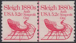 USA Michel 1614 / Scott 1900 postfrisch horiz.PAAR - Fahrzeuge: Schlitten