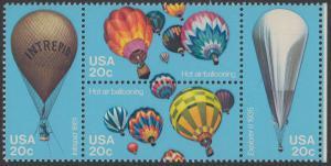 USA Michel 1617-1620 / Scott 2032-2035 postfrisch BLOCK RÄNDER rechts (a1) - Luftfahrt: Start zu einer Ballonwettfahrt