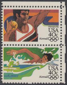 USA Michel 1622+1624 / Scott C105+C107 postfrisch vert.PAAR ECKRAND oben rechts - Olympische Sommerspiele 1984, Los Angeles