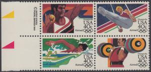 USA Michel 1622-1625 / Scott C105-C108 postfrisch BLOCK RÄNDER links m/ copyright symbol (a2) - Olympische Sommerspiele 1984, Los Angeles