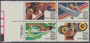 USA Michel 1622-1625 / Scott C105-C108 postfrisch BLOCK RÄNDER links m/ copyright symbol (a1) - Olympische Sommerspiele 1984, Los Angeles