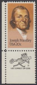USA Michel 1626 / Scott 2038 postfrisch EINZELMARKE ECKRAND unten links m/ ZIP-Emblem - 250. Geburtstag von Josef Priestley, Chemiker