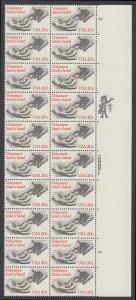 USA Michel 1627 / Scott 2039 postfrisch vert.PLATEBLOCK(20) ECKRAND oben rechts m/ Platten-# 3 - Freiwillige Hilfe
