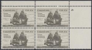 USA Michel 1628 / Scott 2040 postfrisch PLATEBLOCK ECKRAND oben rechts m/ Platten-# 4 - Jahrestag der Einwanderung der ersten Deutschen in Amerika: Einwanderer-Segelschiff Concord (1683)
