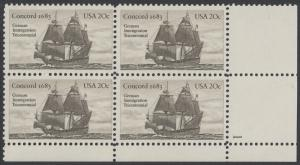 USA Michel 1628 / Scott 2040 postfrisch PLATEBLOCK ECKRAND unten rechts m/ Platten-# 1 (b) - Jahrestag der Einwanderung der ersten Deutschen in Amerika: Einwanderer-Segelschiff Concord (1683)