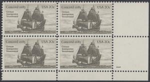USA Michel 1628 / Scott 2040 postfrisch PLATEBLOCK ECKRAND unten rechts m/ Platten-# 1 (a) - Jahrestag der Einwanderung der ersten Deutschen in Amerika: Einwanderer-Segelschiff Concord (1683)