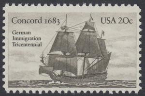 USA Michel 1628 / Scott 2040 postfrisch EINZELMARKE - Jahrestag der Einwanderung der ersten Deutschen in Amerika: Einwanderer-Segelschiff Concord (1683)