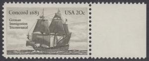 USA Michel 1628 / Scott 2040 postfrisch EINZELMARKE RAND rechts - Jahrestag der Einwanderung der ersten Deutschen in Amerika: Einwanderer-Segelschiff Concord (1683)