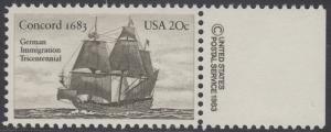 USA Michel 1628 / Scott 2040 postfrisch EINZELMARKE RAND rechts m/ copyright symbol - Jahrestag der Einwanderung der ersten Deutschen in Amerika: Einwanderer-Segelschiff Concord (1683)