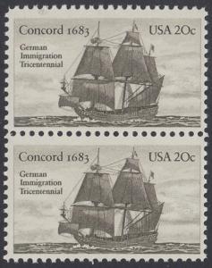 USA Michel 1628 / Scott 2040 postfrisch vert.PAAR - Jahrestag der Einwanderung der ersten Deutschen in Amerika: Einwanderer-Segelschiff Concord (1683)