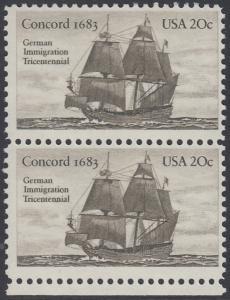 USA Michel 1628 / Scott 2040 postfrisch vert.PAAR RAND unten - Jahrestag der Einwanderung der ersten Deutschen in Amerika: Einwanderer-Segelschiff Concord (1683)