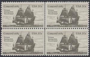 USA Michel 1628 / Scott 2040 postfrisch BLOCK - Jahrestag der Einwanderung der ersten Deutschen in Amerika: Einwanderer-Segelschiff Concord (1683)