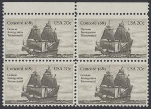 USA Michel 1628 / Scott 2040 postfrisch BLOCK RÄNDER oben - Jahrestag der Einwanderung der ersten Deutschen in Amerika: Einwanderer-Segelschiff Concord (1683)