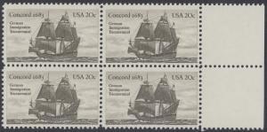 USA Michel 1628 / Scott 2040 postfrisch BLOCK RÄNDER rechts - Jahrestag der Einwanderung der ersten Deutschen in Amerika: Einwanderer-Segelschiff Concord (1683)