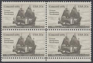 USA Michel 1628 / Scott 2040 postfrisch BLOCK RÄNDER unten - Jahrestag der Einwanderung der ersten Deutschen in Amerika: Einwanderer-Segelschiff Concord (1683)