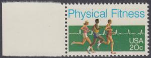 USA Michel 1629 / Scott 2043 postfrisch EINZELMARKE RAND links (a2) - Körperliche Fitness: Langstreckenlauf, Elektrokardiogramm