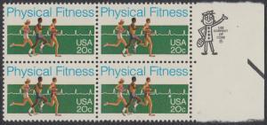 USA Michel 1629 / Scott 2043 postfrisch BLOCK RÄNDER rechts m/ ZIP-Emblem - Körperliche Fitness: Langstreckenlauf, Elektrokardiogramm