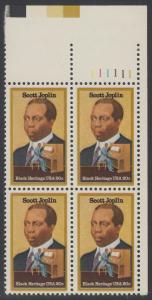 USA Michel 1634 / Scott 2044 postfrisch PLATEBLOCK ECKRAND oben rechts m/ Platten-# 111111 (a) - Schwarzamerikanisches Erbe: Scott Joplin, Musiker