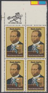 USA Michel 1634 / Scott 2044 postfrisch ZIP-BLOCK (ul) - Schwarzamerikanisches Erbe: Scott Joplin, Musiker