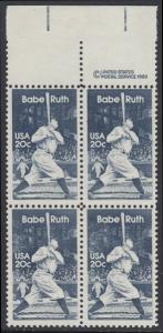 USA Michel 1641 / Scott 2046 postfrisch BLOCK RÄNDER oben m/ copyright system - George Herman -Babe- Ruth (1895-1948), Baseballspieler
