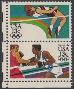 USA Michel 1645+1647 / Scott 2046+2051 postfrisch vert.PAAR ECKRAND unten links - Olympische Sommerspiele 1984, Los Angeles