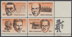 USA Michel 1653-1656 / Scott 2055-2058 postfrisch ZIP-BLOCK (lr) - Erfinder