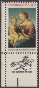 USA Michel 1663 / Scott 2063 postfrisch EINZELMARKE ECKRAND unten links m/ ZIP-Emblem - Weihnachten: HI. Jungfrau und Kind