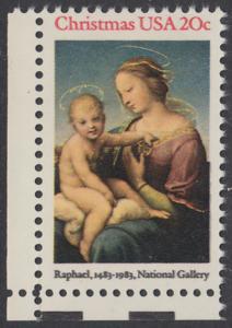 USA Michel 1663 / Scott 2063 postfrisch EINZELMARKE ECKRAND unten links - Weihnachten: HI. Jungfrau und Kind