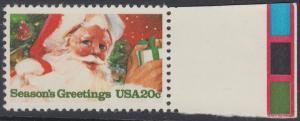 USA Michel 1664 / Scott 2064 postfrisch EINZELMARKE RAND rechts - Weihnachten: Weihnachtsmann