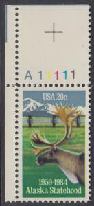 USA Michel 1670 / Scott 2066 postfrisch EINZELMARKE ECKRAND oben links m/ Platten-# A11111 - 25 Jahre Staat Alaska: Karibu