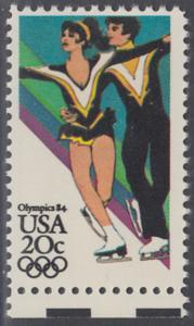 USA Michel 1671 / Scott 2067 postfrisch EINZELMARKE RAND unten - Olympische Winterspiele, Sarajevo